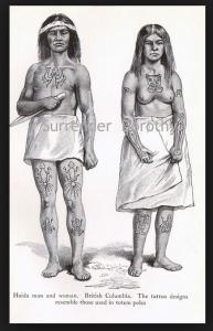 Haida Man and Woman with tattoos       Source:Vanishingtattoo.com
