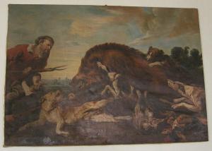 """Palazzo rospigliosi pallavicini sala delle arti tela """"Caccia al Cinghiale"""" Source: Wikimedia Commons"""